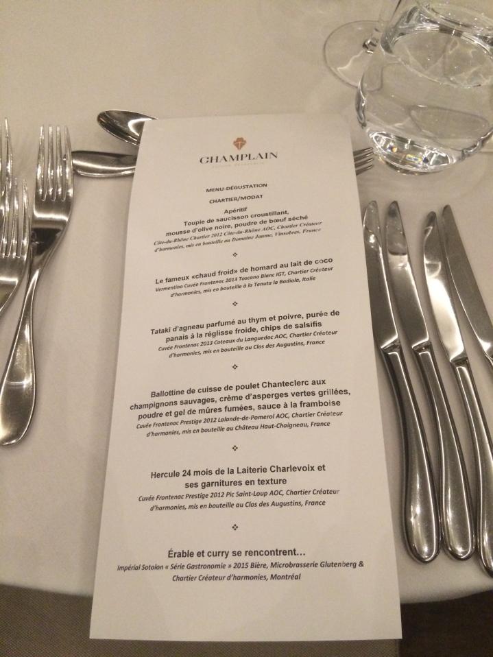 menu dégustation
