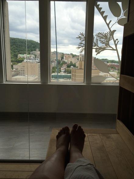 La vue du sauna